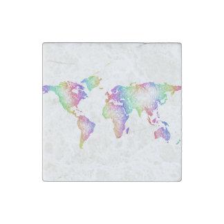 Rainbow World map Stone Magnet