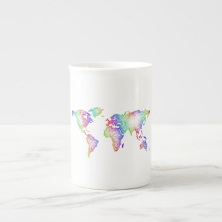 Rainbow World map Tea Cup