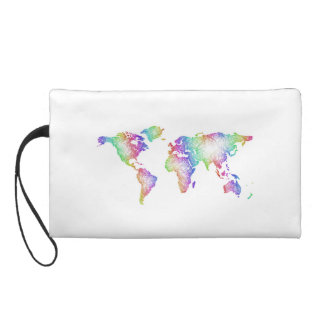 Rainbow World map Wristlet