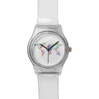 Rainbow World map Wristwatches