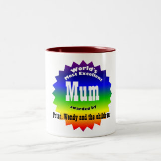 RAINBOW World's Most Excellent....Mum Two-Tone Mug