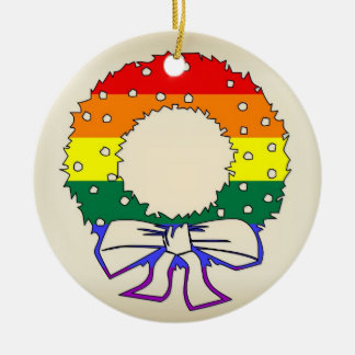 Rainbow Wreath Ceramic Ornament