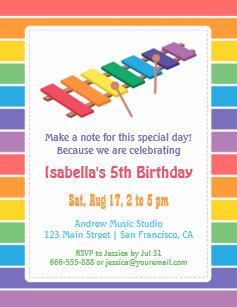 Music themed birthday invitations zazzle rainbow xylophone kids music themed birthday party invitation filmwisefo