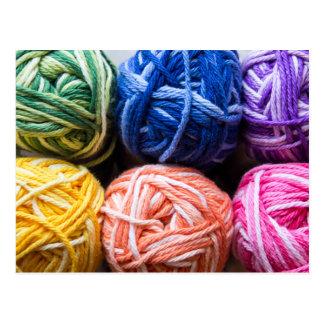 Rainbow yarn postcard