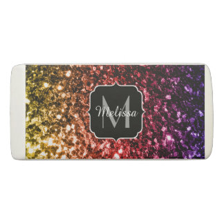 Rainbow yellow red purple sparkles Monogram Eraser