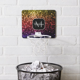 Rainbow yellow red purple sparkles Monogram Mini Basketball Hoop