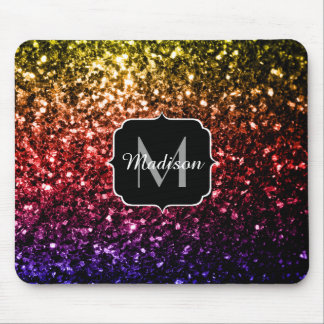 Rainbow yellow red purple sparkles Monogram Mouse Pad