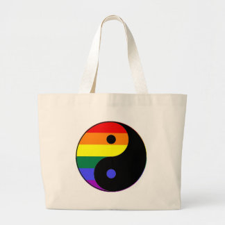 Rainbow Yin and Yang - LGBT Pride Rainbow Colors Large Tote Bag