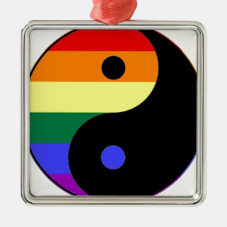Rainbow Yin and Yang - LGBT Pride Rainbow Colors Metal Ornament