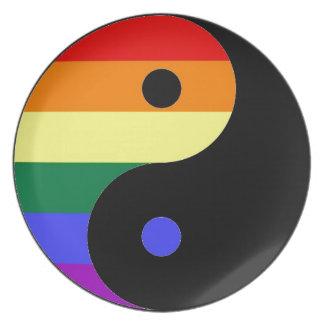 Rainbow Yin and Yang - LGBT Pride Rainbow Colors Plate