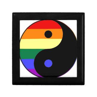 Rainbow Yin and Yang - LGBT Pride Rainbow Colors Small Square Gift Box