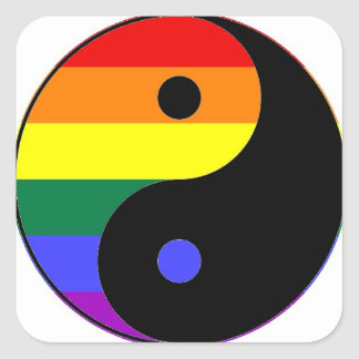 Rainbow Yin and Yang - LGBT Pride Rainbow Colors Square Sticker