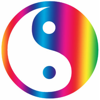 Rainbow Yin Yang Ornament Photo Cutout