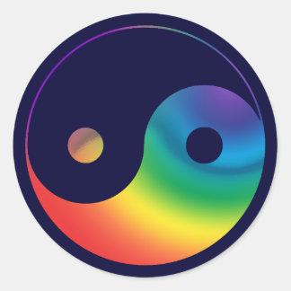 Rainbow Yin Yang Symbol Classic Round Sticker