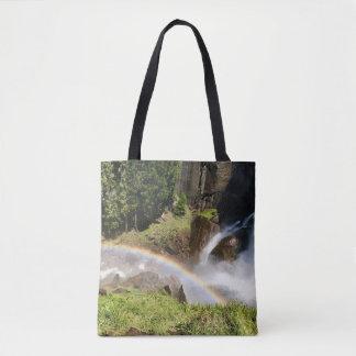 Rainbow -- Yosemite -- Water fall Tote Bag