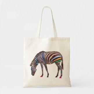 Rainbow Zebra Budget Tote