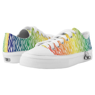 Rainbow Zebra Pattern Print Low Tops