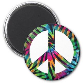 Rainbow Zebra Print Tie Dye Peace Sign Magnet