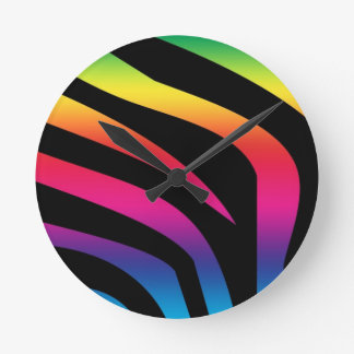 Rainbow Zebra Round Clock