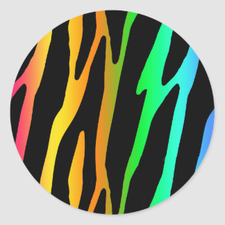 Rainbow Zebra Safari Animal Print Classic Round Sticker
