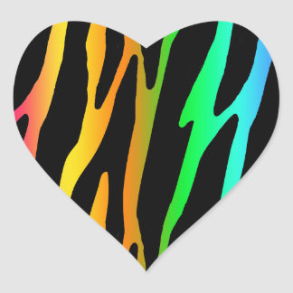 Rainbow Zebra Safari Animal Print Heart Sticker