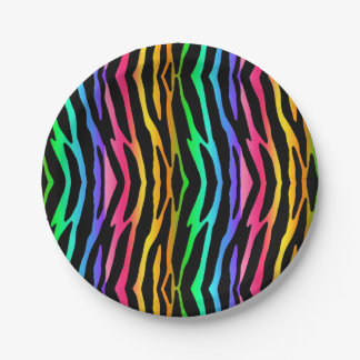 Rainbow Zebra Safari Animal Print Paper Plate
