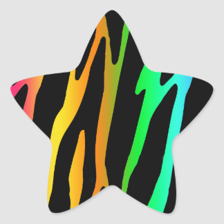 Rainbow Zebra Safari Animal Print Star Sticker