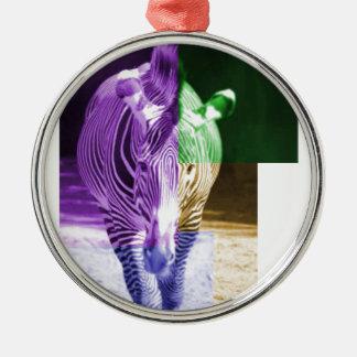 Rainbow Zebra Silver-Colored Round Decoration