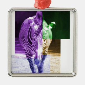 Rainbow Zebra Silver-Colored Square Decoration