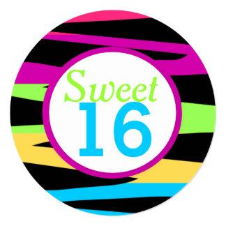 Rainbow Zebra Stripes Sweet Sixteen Birthday Party Card