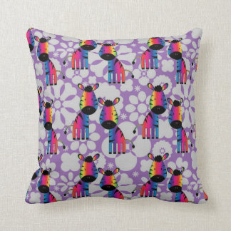 Rainbow Zebra Throw Pillow