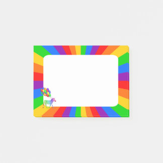 Rainbow Zebra with Colorful Party Balloons Post-it Notes