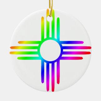 Rainbow Zia Round Ceramic Decoration