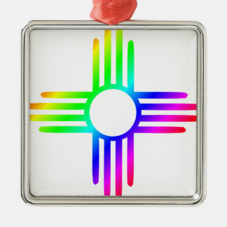Rainbow Zia Silver-Colored Square Decoration