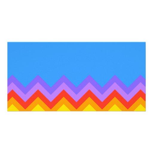 Rainbow Zig Zag Pattern. Part Plain Blue. Picture Card