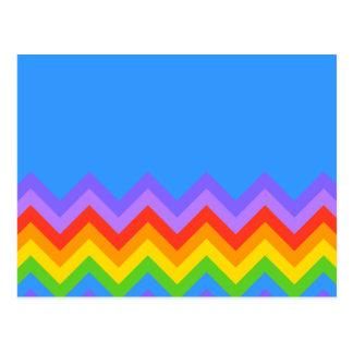 Rainbow Zig Zag Pattern. Part Plain Blue. Post Cards