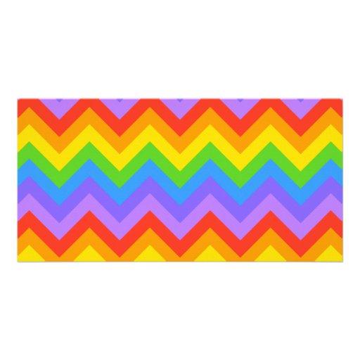 Rainbow Zig Zag Pattern. Customized Photo Card