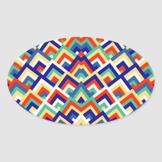 Rainbow Zigzag Symmetric Peeks Pattern Oval Sticker