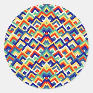 Rainbow Zigzag Symmetric Peeks Pattern Round Sticker