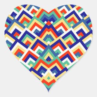 Rainbow Zigzag Symmetric Peeks Pattern Heart Sticker