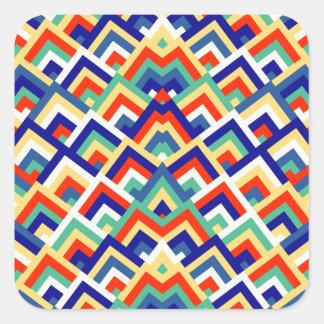 Rainbow Zigzag Symmetric Peeks Pattern Square Stickers