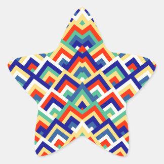 Rainbow Zigzag Symmetric Peeks Pattern Star Stickers