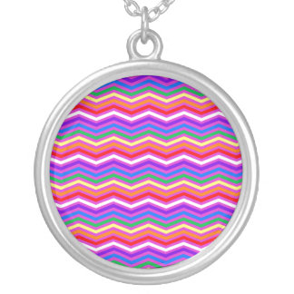 Rainbow ZigZags on Purple Silver Plated Necklace