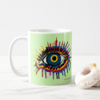 Rainboweye - pale green coffee mug