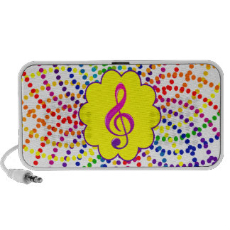 Rainbows and polka dots speaker.