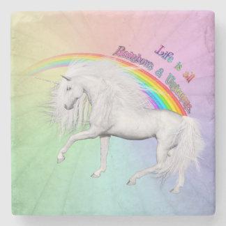 Rainbows and Unicorns Stone Coaster