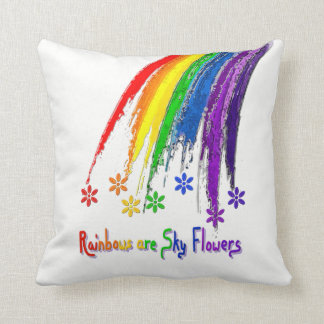 Rainbows are Sky Flowers Pillow