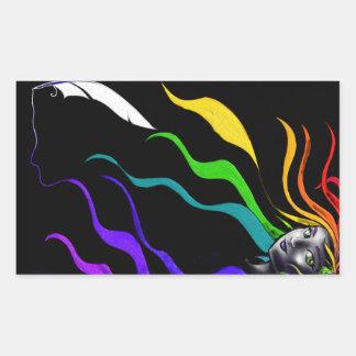 Rainbows In Her Hair Rectangular Sticker