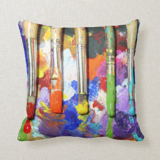 Rainbows In Progress Artist's Brushes Cushion