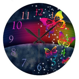 Rainbows n Butterflies Large Clock